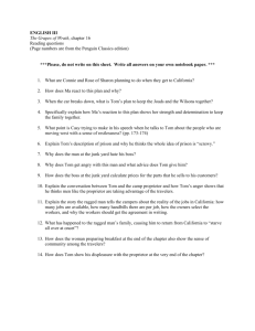 ENGLISH III The Grapes of Wrath, chapter 16 Reading questions