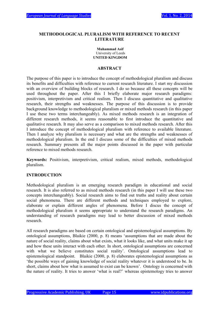 Methodological Pluralism With Reference
