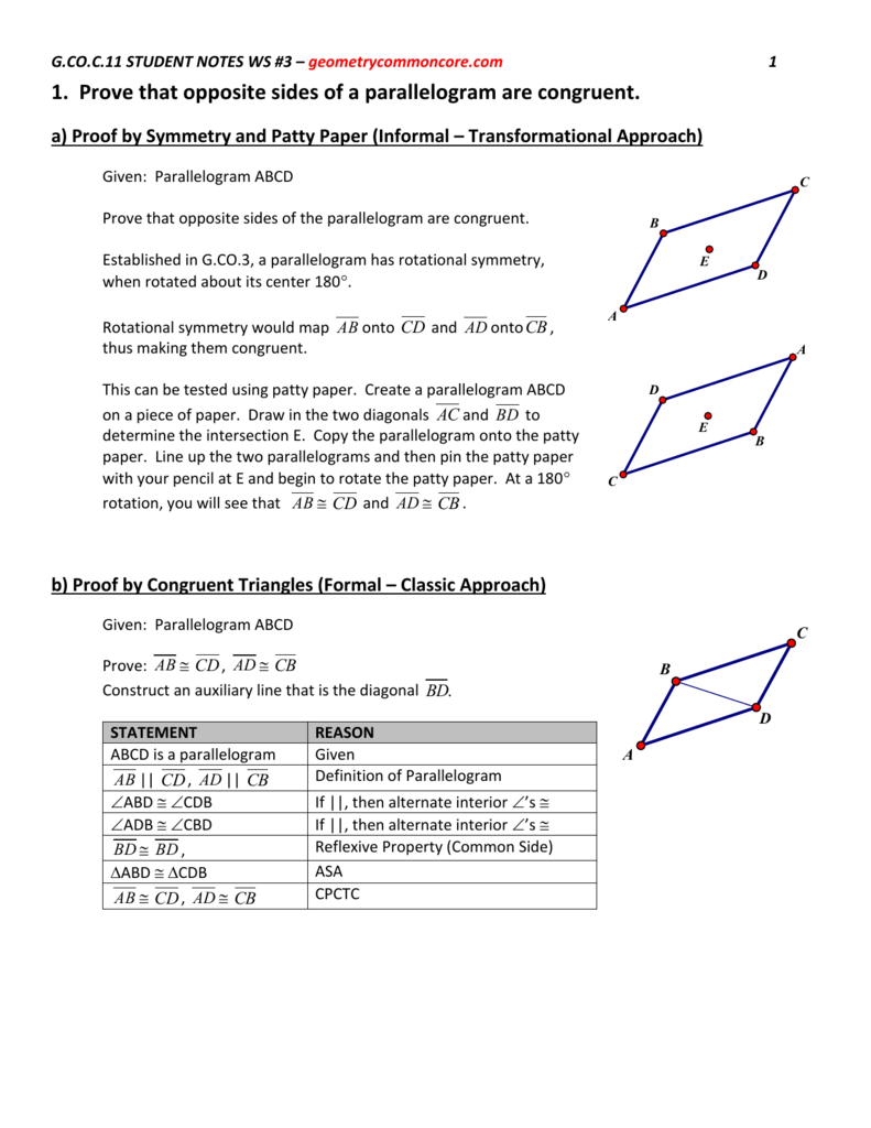 1  Prove that opposite sides of a parallelogram are congruent  a