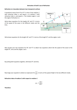 Derivation of Snells law worksheet