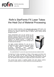 Rofin`s StarFemto FX Laser Takes the Heat Out of Material