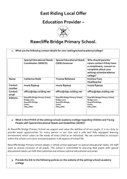 Local Offer RB 2016 - Rawcliffe Bridge Primary School