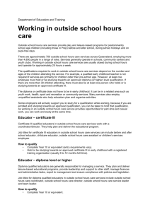 The qualifications required to work in outside school hours care