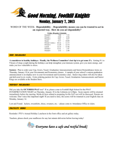 Good Morning, Foothill Knights Monday, January 7, 2013