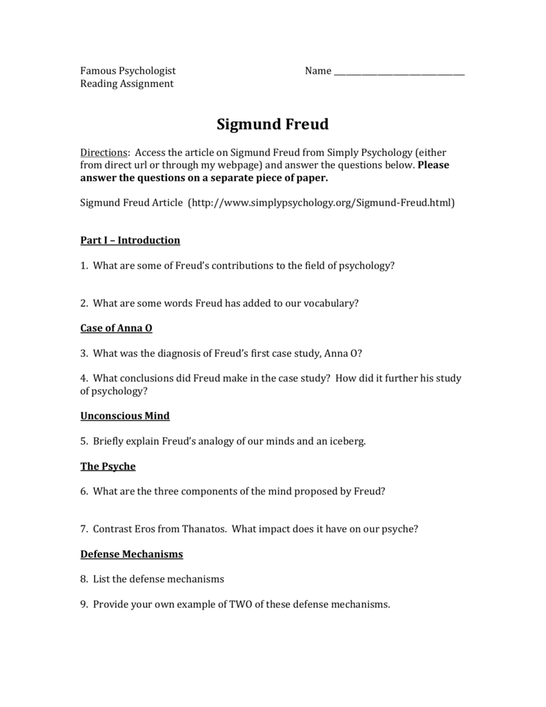 Freud Questions