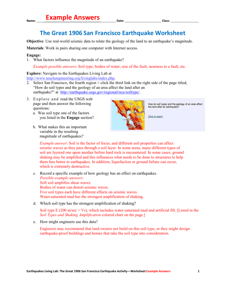 worksheet Earthquakes Worksheet the great 1906 san francisco earthquake worksheet example