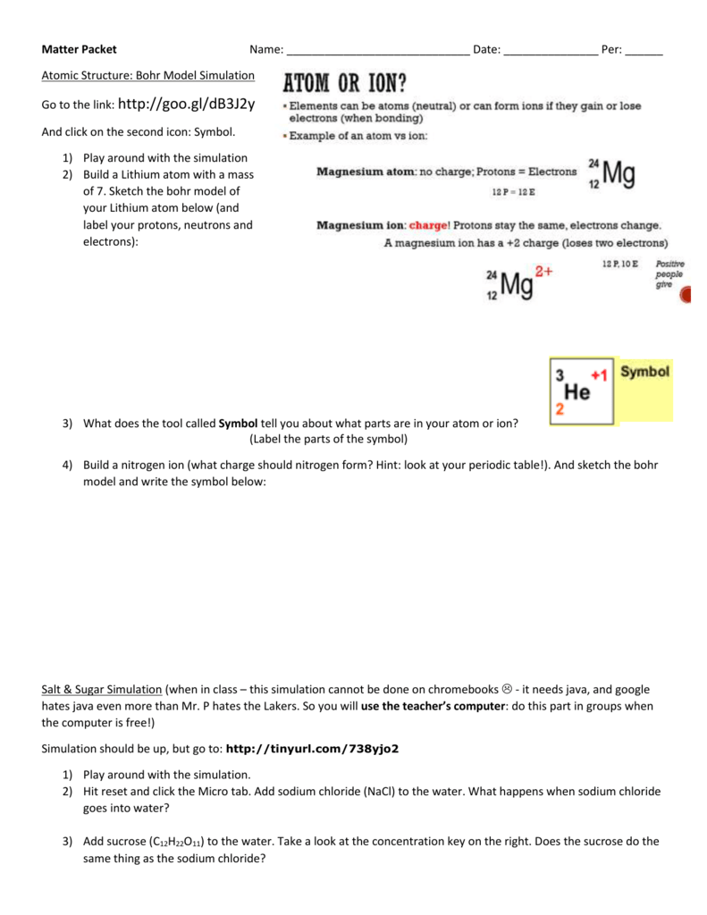 Matter Packet Mr Ps Ap Science Site
