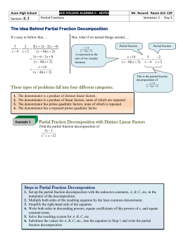 8.3 - Partial Fractions