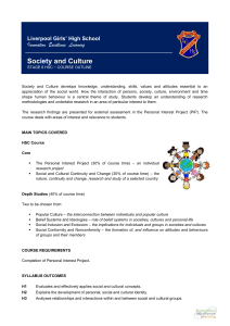 Society and Culture Outline - Liverpool Girls` High School