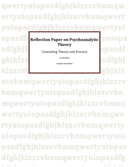 Reflection Paper on Psychoanalytic Theory