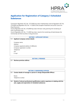 Application for Registration of Category 3 Scheduled Substances