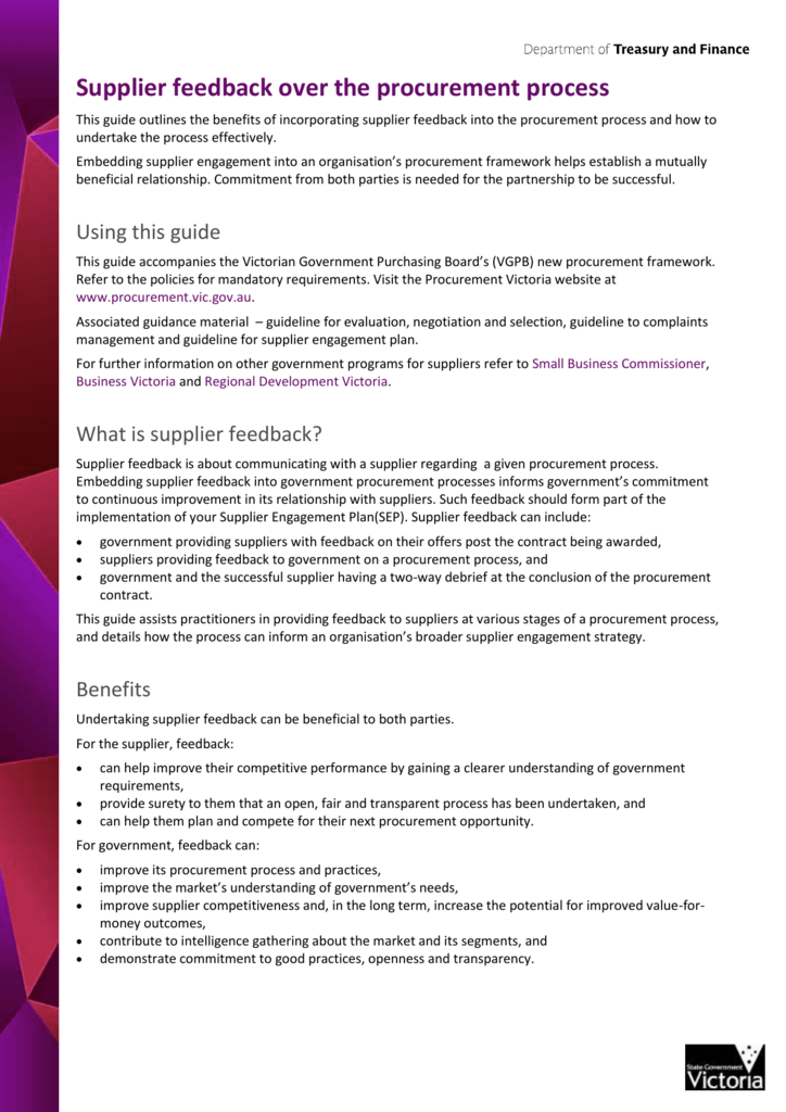 What is supplier feedback? - Victorian Government Procurement