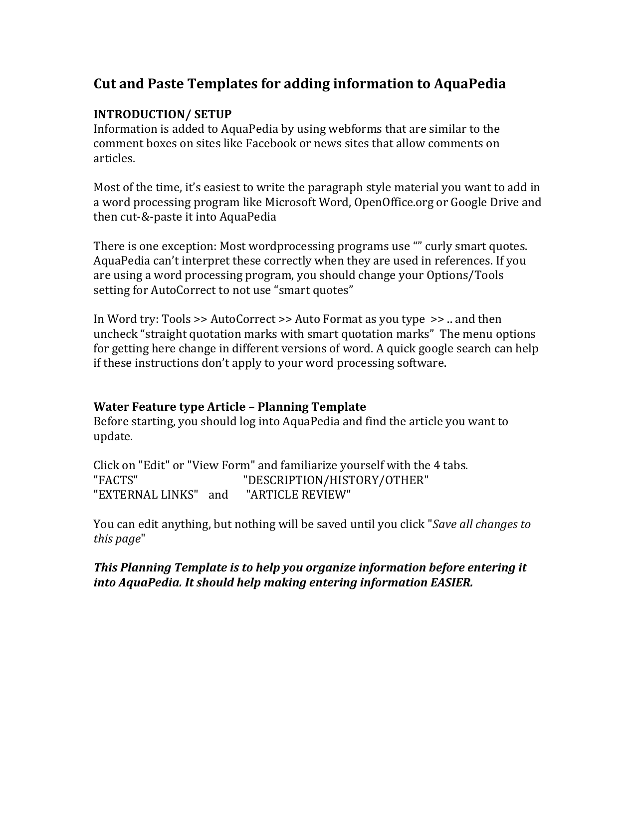 Water Project Article Information Prep Template