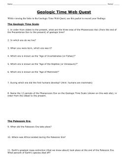Geologic Time Scale Worksheet Answer Key 1