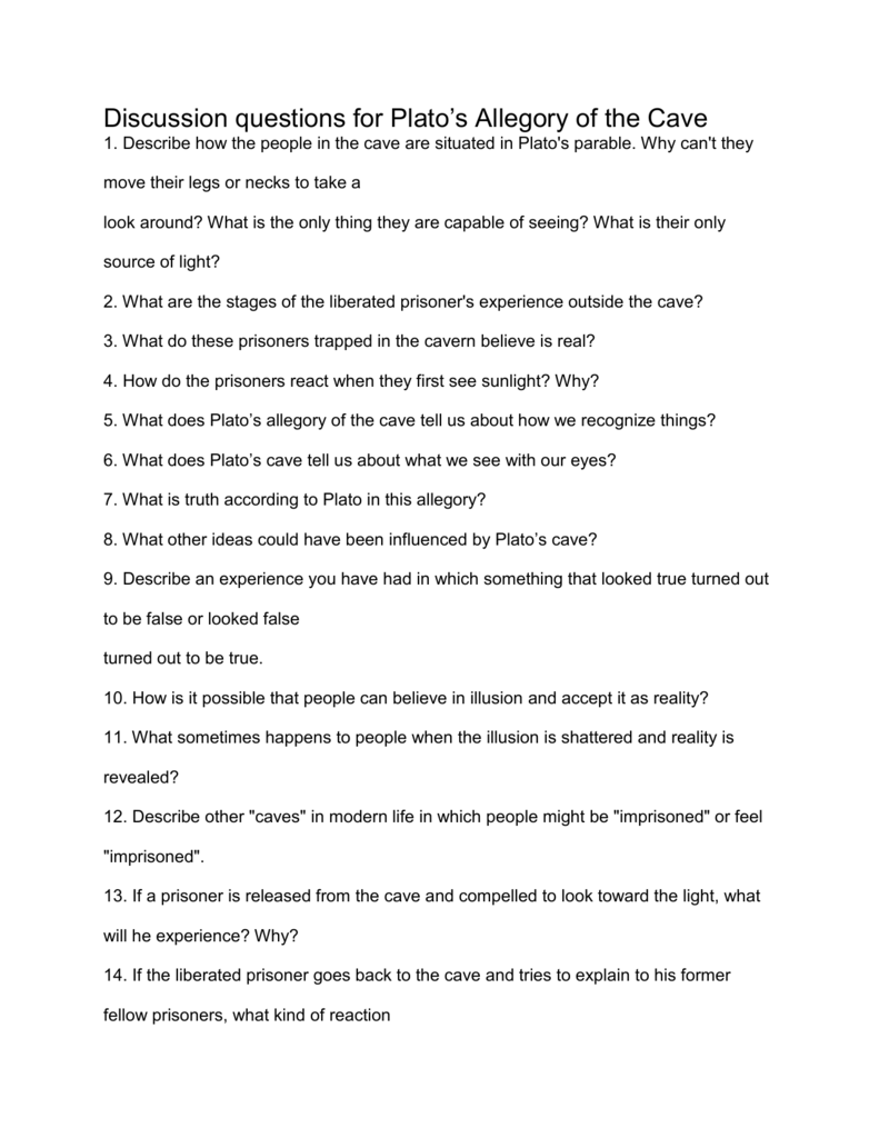 plato allegory of the cave essay questions