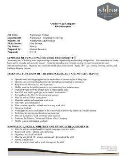 Outdoor Cap Company Job Description Job Title: Warehouse