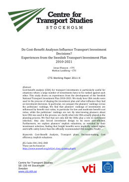 Do Cost-Benefit Analyses Influence Transport Investment