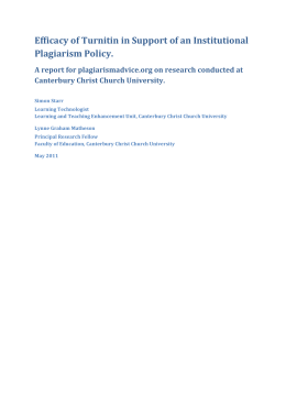 Efficacy of Turnitin in Support of an Institutional Plagiarism