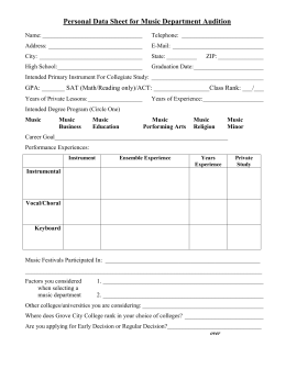 Personal Data Sheet for Music Department Audition