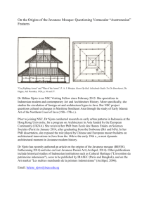 On the Origins of the Javanese Mosque: Questioning Vernacular