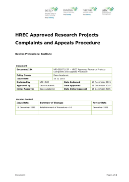 HREC Approved Research Projects Complaints and Appeals Process
