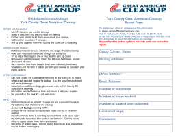 Guidelines for conducting a York County Great American Cleanup