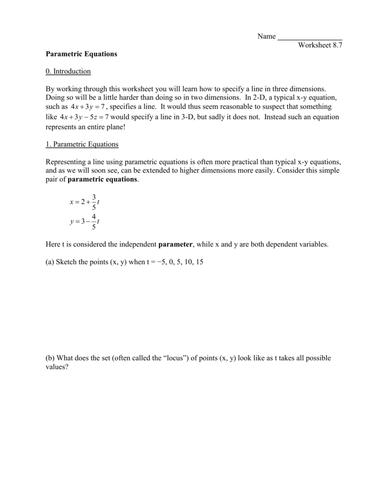 Worksheets Parametric Equations Worksheet vector lines