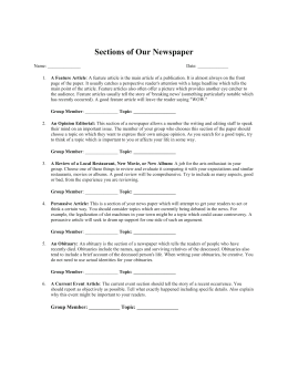 Newspaper Sections Worksheet
