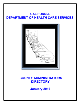 AOD Program Administrators Directory (Updated by DHCS Jan 2016)