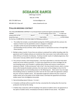 This STALLION BREEDING CONTRACT is by Schaack Ranch