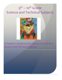 10 th Grade Model Curriculum for Science and Technical Texts