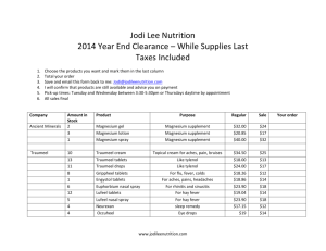Jodi Lee Nutrition 2014 Year End Clearance – While Supplies Last