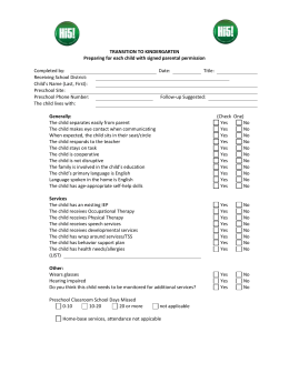 Generic Transition to Kindergarten Information Checklist