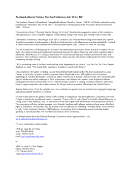 2014NWCPressRelease - The Anglican Diocese of Edmonton