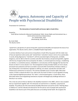 Presentation on Agency, Autonomy and Capacity