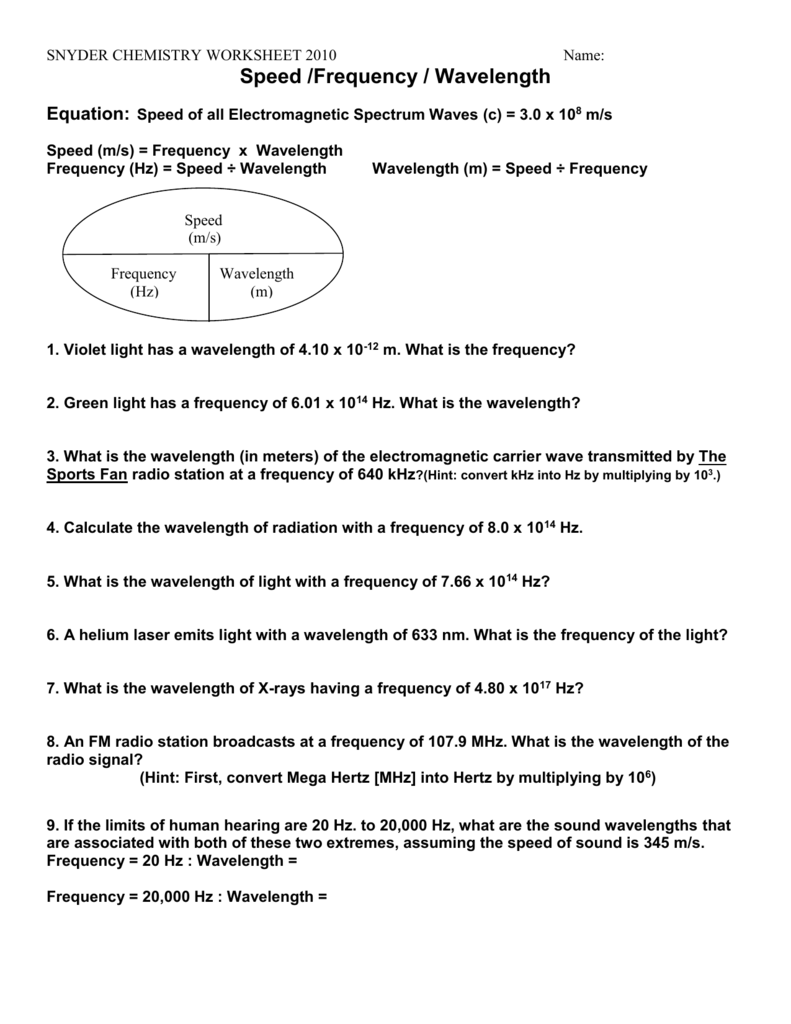 worksheet Wavelength Worksheet worksheet frequencywavelengthenergy