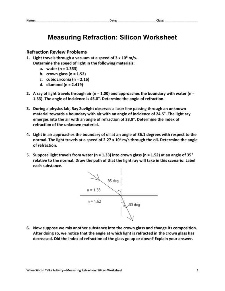 Worksheets Refraction Worksheet measuring refraction answers in red