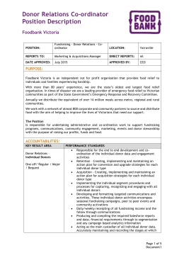 Donor Relations Co-ordinator Position Description
