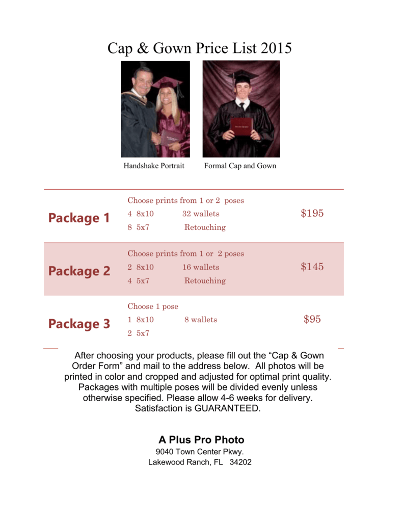 BRHS cap & gown price list 2015