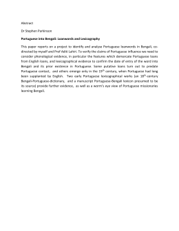 Abstract Dr Stephen Parkinson Portuguese into Bengali: Loanwords