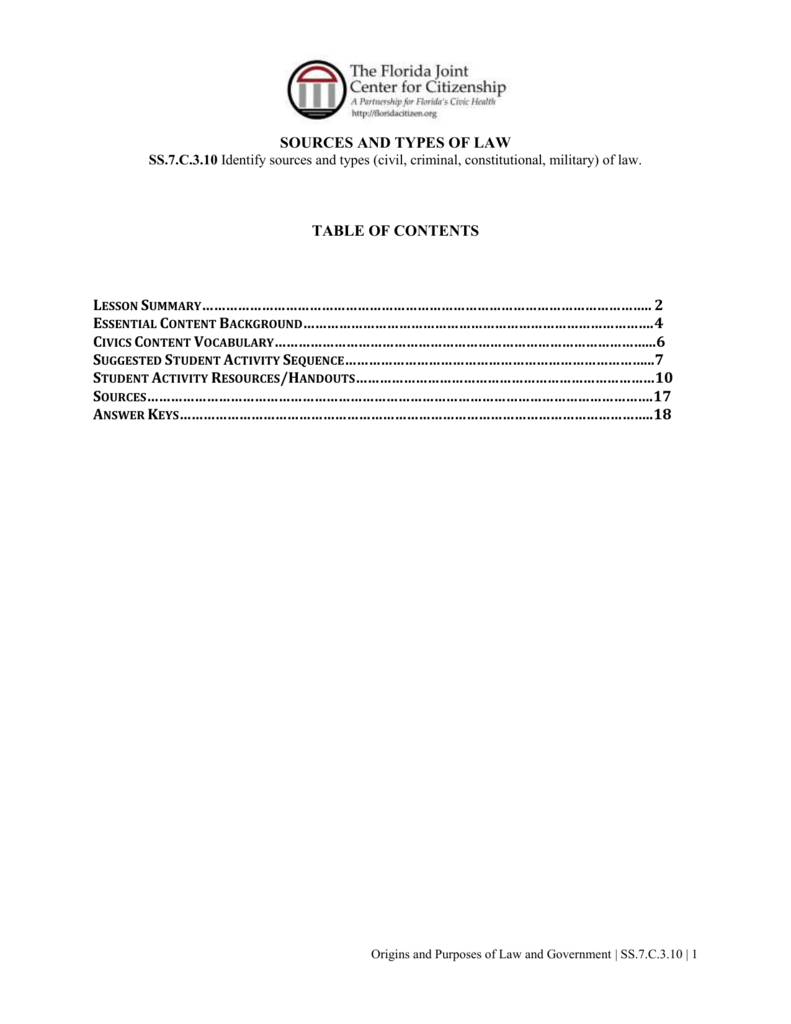 Icivics Sources Of Law Worksheet Answer Key