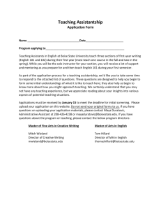 Teaching Assistantship for English Composition Application form