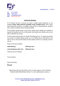 Facility Hire Letter - Indoor State of the Art Artificial Surface