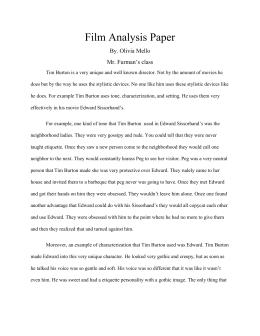 Tim Burton Style Analysis Film Essay Film Analysis Paper  Olivias