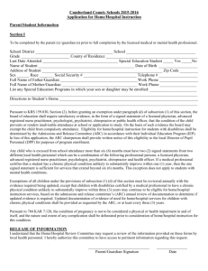 Application for Home/Hospital Instruction