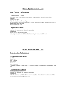 Oxford High School Show Choir Dress Code for Performances