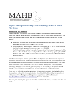 Healthy Community Design/Mass in Motion RFP