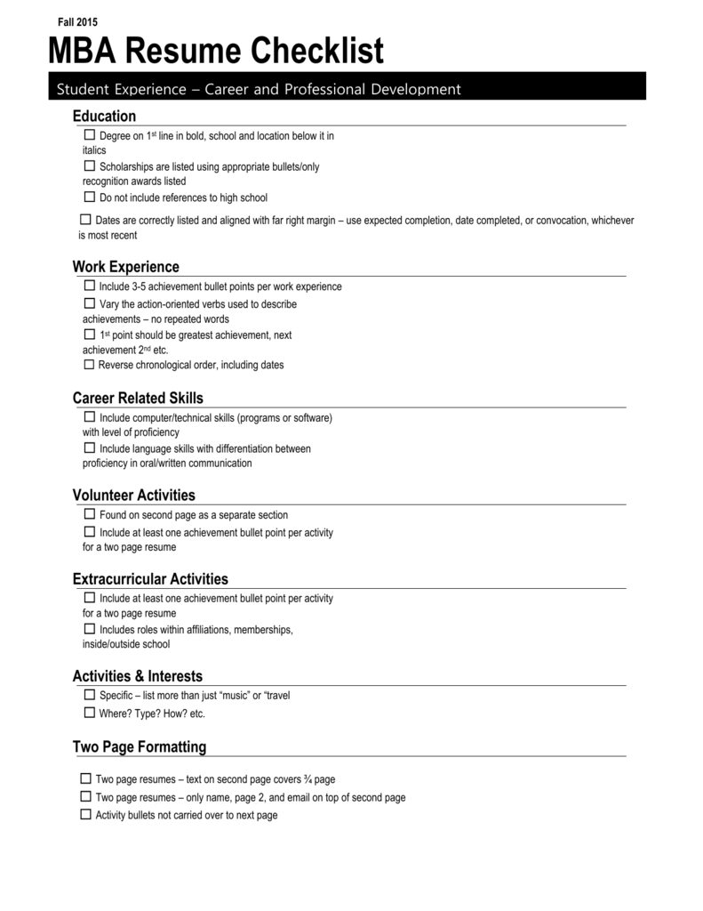 Resume Checklist Career And Professional Development