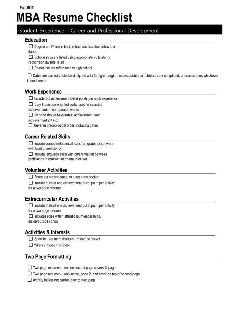 Resume Checklist Career And Professional Development