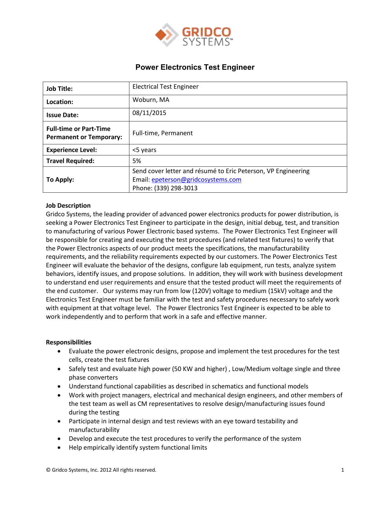 Power Electronics Test Engineer